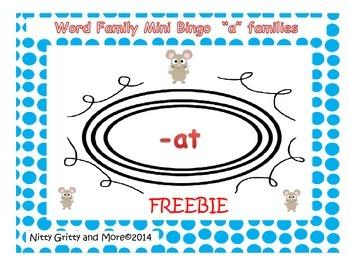 "Word Family Mini Bingo - ""A""  Families - Freebie - revised"