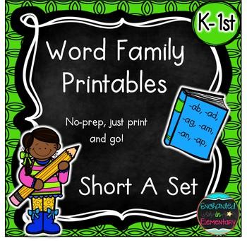 Word Family No-Prep Printables: Short A Pack