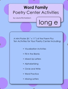Word Family Poetry - Poems For Your Poetry Center, Long E