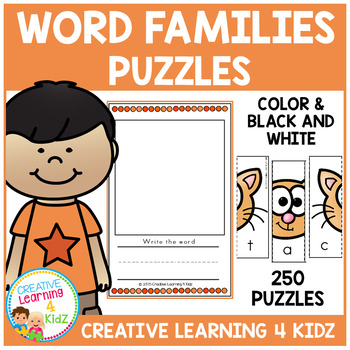 Word Family Puzzles (250 Puzzles) 25 Word Families