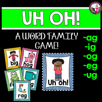 Word Family Rhyming Memory Game ag, eg, ig, og, ug