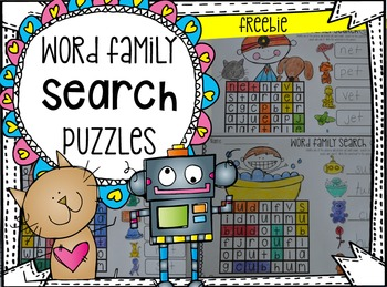 Word Family Search Puzzles {Freebie}