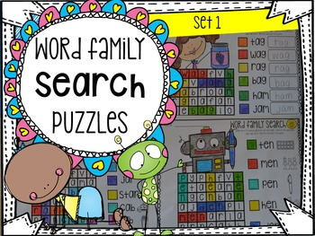 Word Family Search Puzzles Set 1