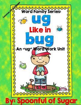 Word Family Series: Ug Like In Bug (Ug Word Work Unit)