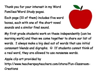 Word Family (Short Vowels)Word Work
