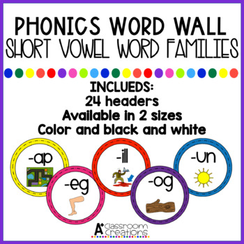 Word Wall Headers:  Short Vowel Word Families {black/white