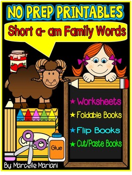 Word Family Word Work- Short A- AM Word Family NO PREP Lit
