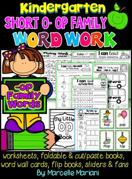Word Family Word Work- Short O- OP Word Family Literacy Packet