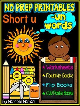 Word Family Word Work- Short U- UN Word Family NO PREP Lit