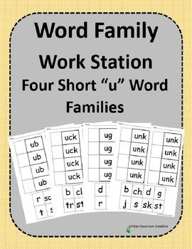 Word Family Work Stations - BUNDLE - Four Short -u Word Fa