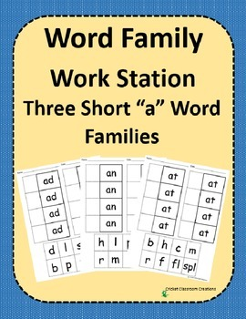 Word Family Work Stations - BUNDLE - Three Short -a Word F