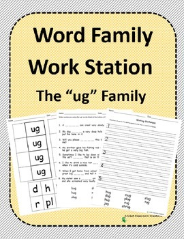 Word Family Work Stations and Independent Practice: The -u