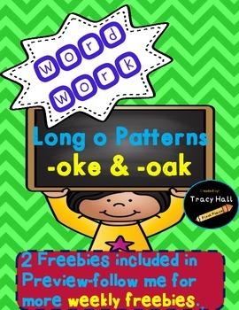 Word Family -oke -oak Word Work and Spelling Printables-fr