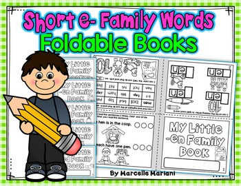 Word Family, short E ONE PAGE FOLD-ABLE BOOKS (5 Books)