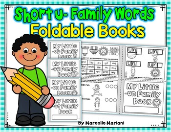 Word Family, short U ONE PAGE FOLD-ABLE BOOKS (4 Books)