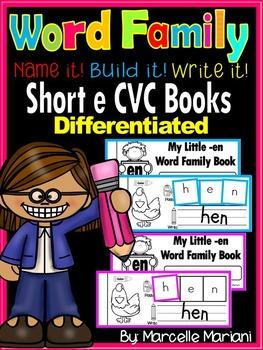 Word Family short e CVC Books: Name it, Build it, Write it