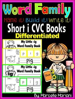 Word Family short i CVC Books: Name it, Build it, Write it