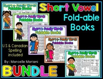 Word Family, short vowel 25 CVC ONE PAGE FOLD-ABLE BOOKS-B