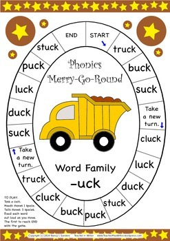 Word Family -uck Phonics Merry-Go-Round Game