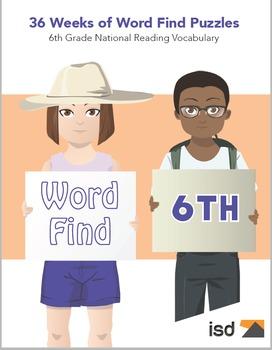Word Find Packet - 36 Weeks - 6th Grade National Reading V