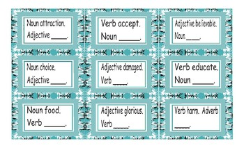 Word Form Cards