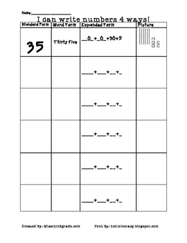 Printables Expanded And Standard Form Worksheets word form expanded standard by courtney janes picture plac