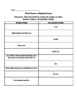 Word Form and Standard Form