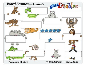 Word Frames Graphics with Cute Cartoon Animals