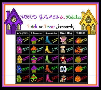 Word Games and Riddles Trick or Treat Jeopardy