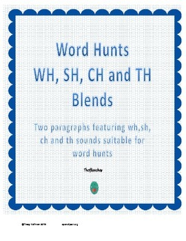 Word Hunt CH, SH, TH and WH