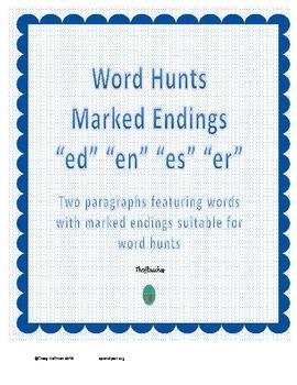 "Word Hunt Marked Endings ""es"" ""en"" ""er"" ""ed"""