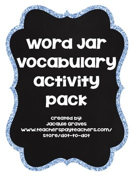 Word Jar Activity Pack- vocabulary building
