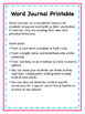 Word Journal Printable