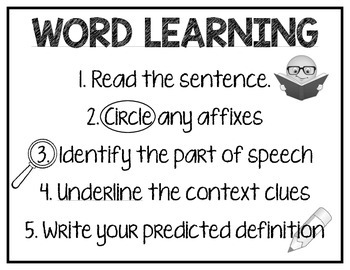 Word Learning Strategy Poster and Bookmarks