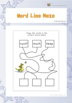 Word Line Maze (3rd Grade)