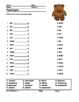 Word Links Printable Worksheet for the Book Paddington