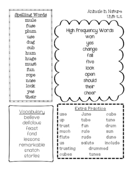 Word Lists for second grade Unit 2 McGraw Hill Reading Wonders
