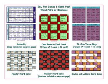 Word Pairs or Binomials 6 Board Game Bundle