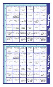 Word Pairs or Binomials Battleship Board Game