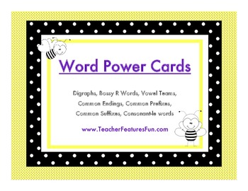 Word Power Wall CARDS: Dotty Bees (Editable)