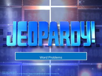 Word Problem & Even/Odd Jeopardy