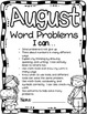Word Problem Journal Pages with Monthly Covers *Glue on a