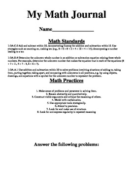 Word Problem Math Journal