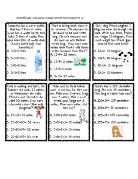 Word Problem Measurement Practice Cards