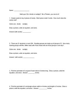 Word Problem Quiz