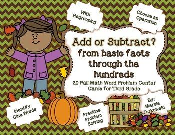 Word Problem Solving Third Grade Fall Edition Choose the O