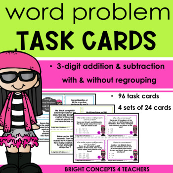 Word Problem Task Cards:  3-digit Addition and Subtraction