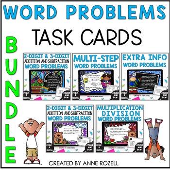 Word Problem Task Cards BUNDLE-Set A-F (GROWING BUNDLE)