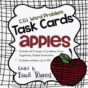 Word Problem Task Cards to 100 - Apples