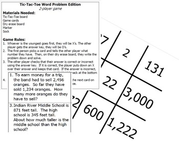 Word Problem Tic-Tac-Toe Review Game - VA Math SOL 3.4